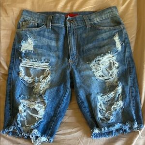 Ripped women's jeans thigh length shorts